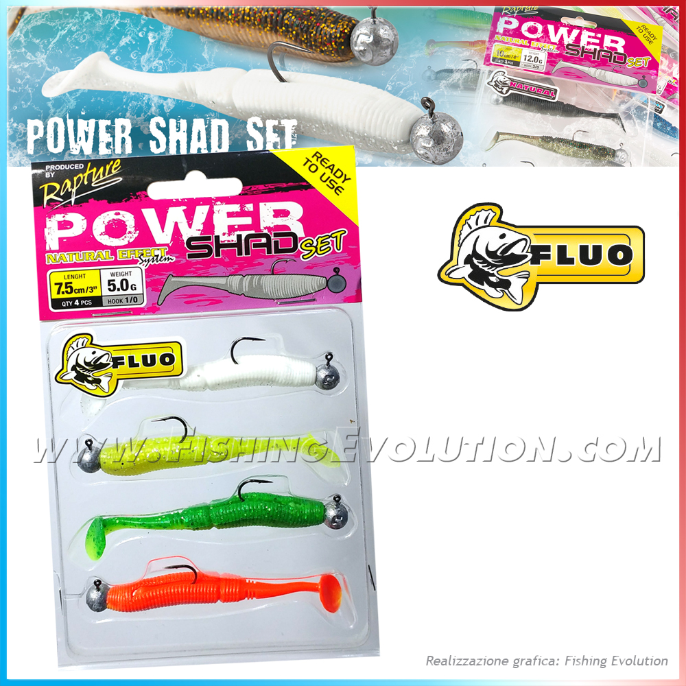 Power Shad Set 7,5cm Fluo