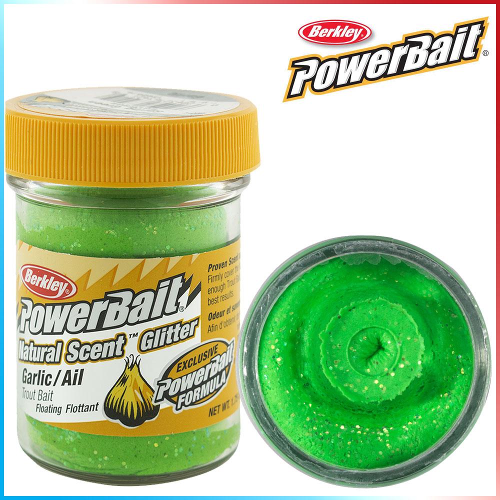 Pasta per Trote PowerBait Col.Spring Green - Aroma Garlic + Glitter