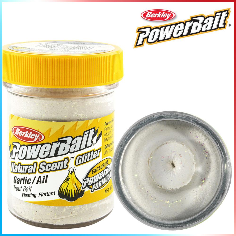Pasta per Trote PowerBait Col.White - Aroma Garlic + Glitter