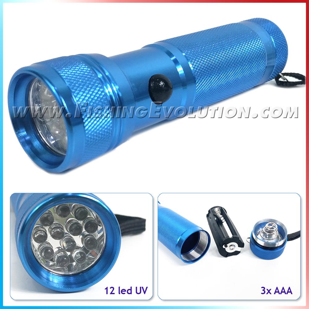 Camor Torcia uv 12 led alluminio azzurra