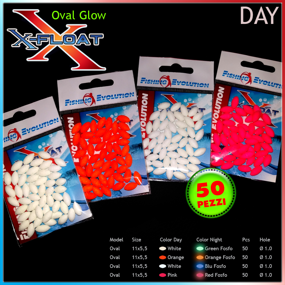 X-Float Oval Fosforescente Scorrevole 11x5,6 mm (50 pz)