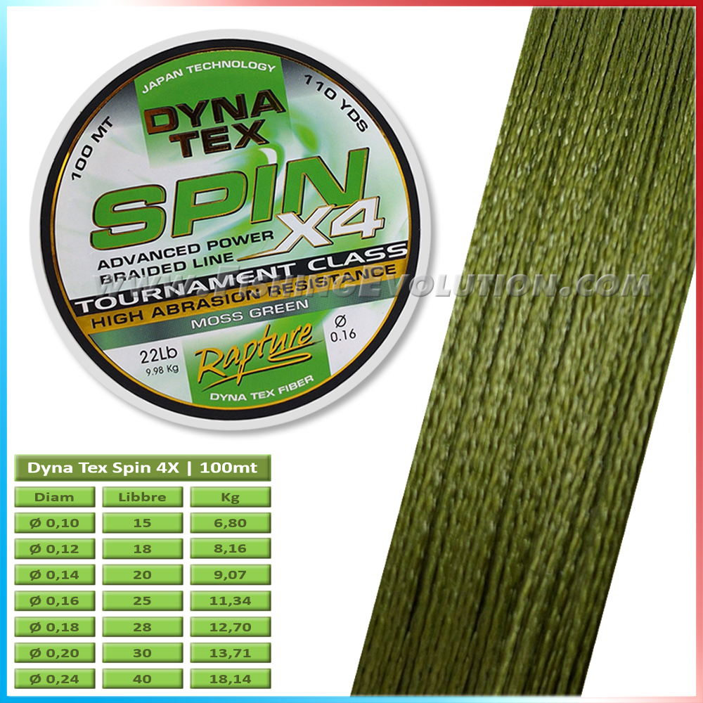 Dyna Tex Spin 4X 100 mt Green Moss