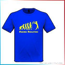 T-Shirt Fishing Evolution baby Blu Evoluzione Giallo
