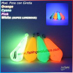 Piombo a Pera Fluo 4 colori con girella rolling